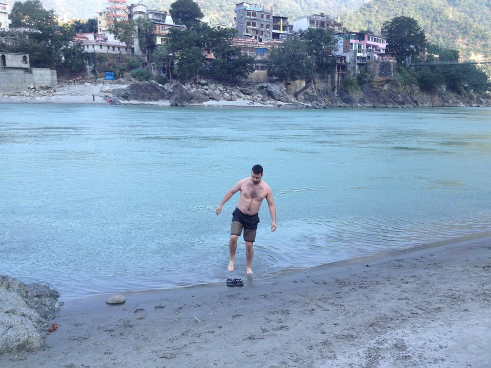 Jeff going for a swim in the Ganges River