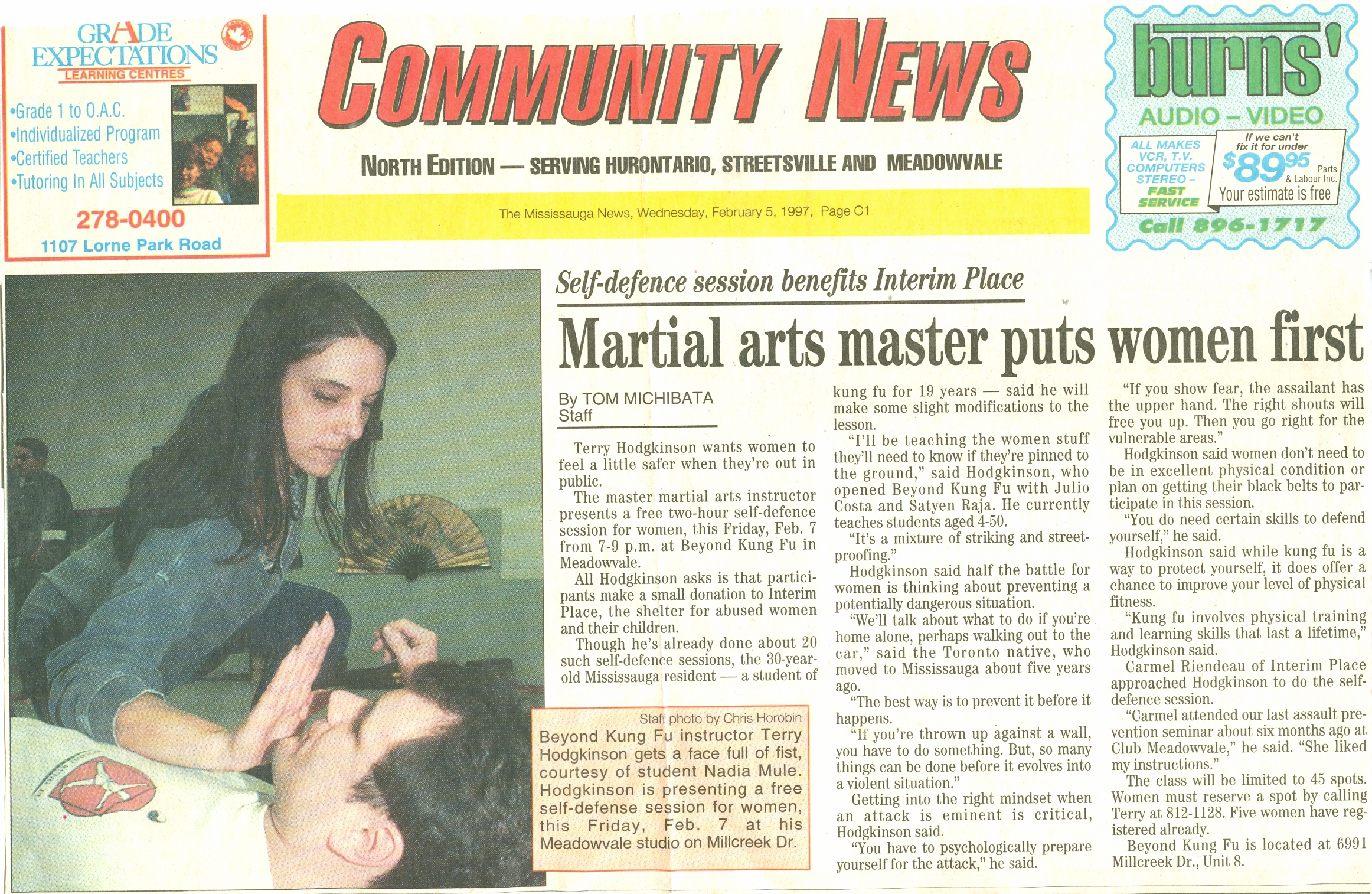Terry Hodgkinson's women's self defence training in the newspaper