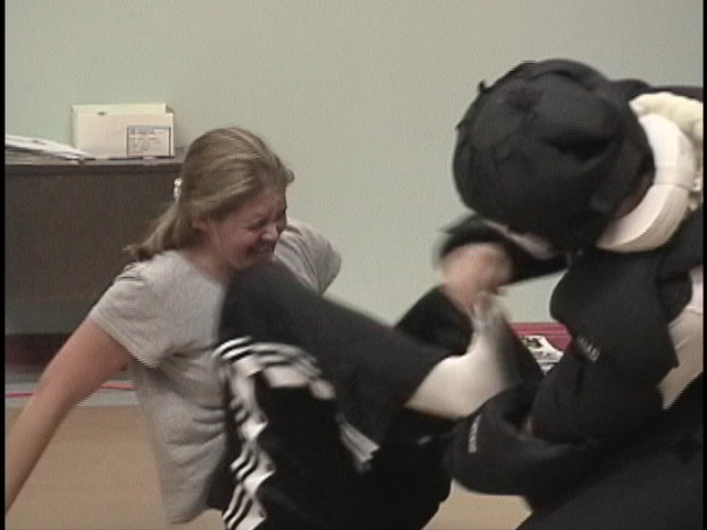 Terry Hodgkinson Sifu attacking during Women's Assault Prevention Training
